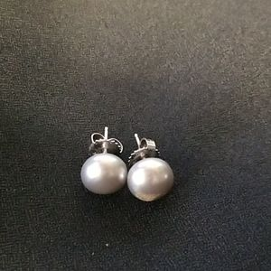 Honora Gray button pearl earrings